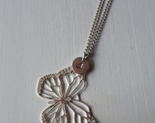 Necklace hand stamped - Butterfly + Initial