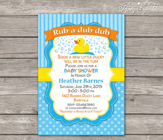 Rub-A-Dub-Dub imprimible Little Ducky Baby Shower invitar