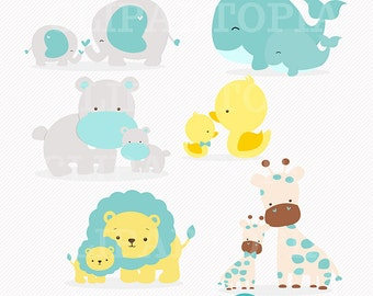 Mom and Baby Animal Blue digital clipart / elephant, giraffe, lion, whale, duck, hippo Clip art for personal and commercial use