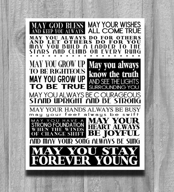Forever Young Print Song Lyrics Bob Dylan by PrintsbyChristine