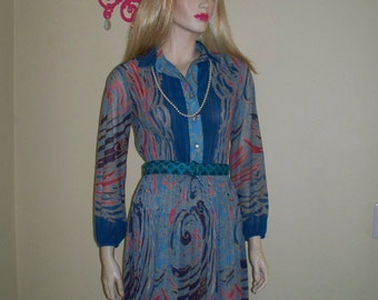 SALE 16.95 Vintage Lovely Boho Pleated Abstract Sweet Colorful Dress sz M/L