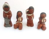 Inuit Clay Art Figurines by Eija Seras - Vintage Canadian Inuit / Eskimo Family Set - 1970s Canada - Artist Signed