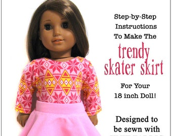 Pixie Faire 123 Mulberry St Trendy Skater Skirt Doll Clothes Pattern for 18 inch AG Dolls - PDF