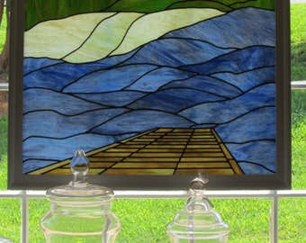 Stained Glass Landscape with Dock