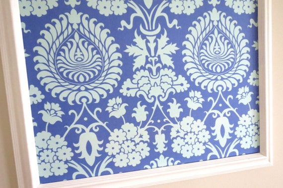 Blue Damask Pin Board Cork Board