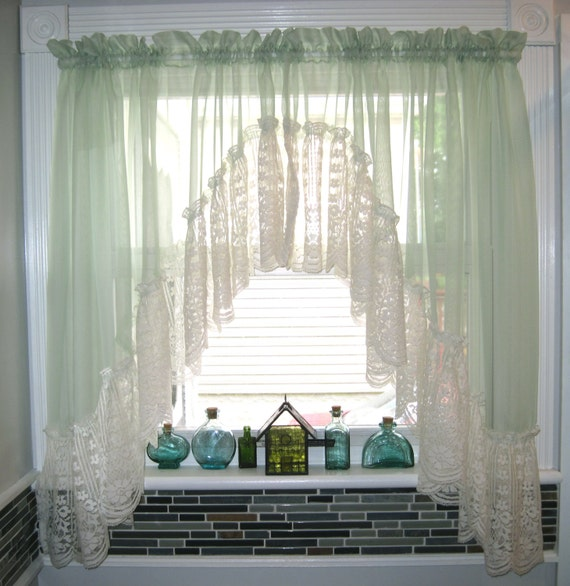 Green Kitchen Curtain Ideas: Light Green Sheer Lace Window Curtain Drapes Bathroom Kitchen