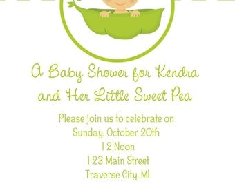 Sweet Pea Baby Shower Invitations   Little Sweet Pea Baby Shower Invites  Printable