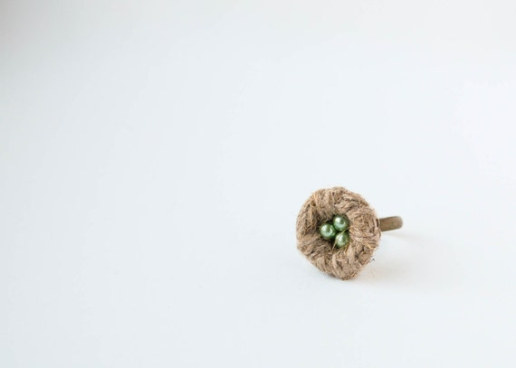 Apple green Birds Nest Ring - Small Nest Adjustable Ring - Woodland Eco Jewelry