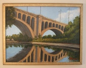 Original painting, Philadelphia, Manayunk bridge, American landscape, reflection, water, blue sky, Sessa