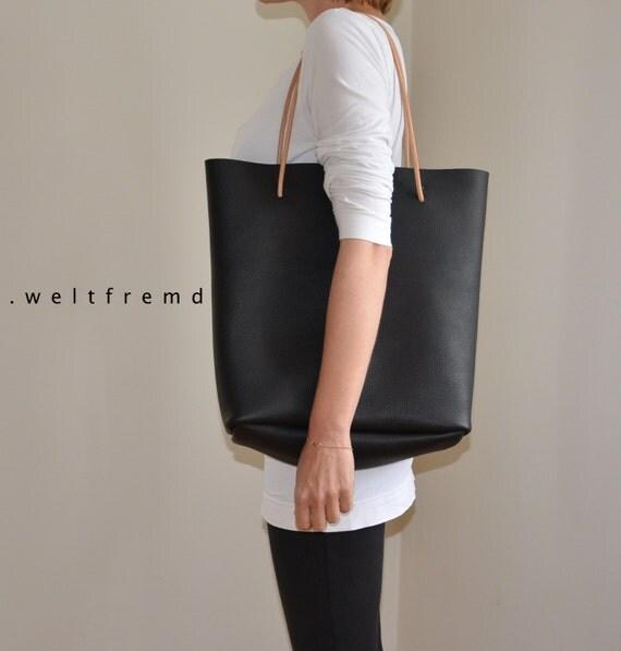 ledertasche shopper leder tasche schwarz minimalist. Black Bedroom Furniture Sets. Home Design Ideas