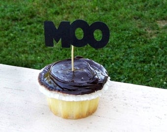 12 Moo Cupcake Toppers
