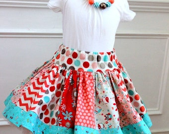 chevron owl skirt polkadot chevron fall skirt girls fall outfit stripwork skirt aqua coral pink bronze skirt twirly skirt birthday toddler