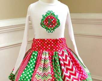 Christmas outfit girls Christmas outfit Christmas skirt set  pink green Girls Christmas clothing chevron polka dot skirt girl holiday