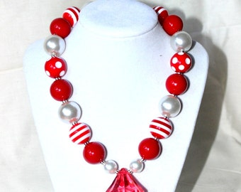 girls christmas chunky bead necklace red white necklace candy cane necklace valentines day necklace girl toddler pearl red diamond necklace