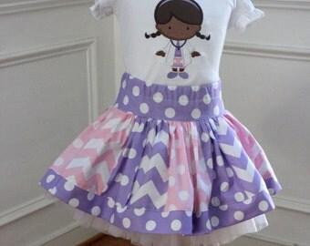 Doc McStuffins outfit Birthday outfit girl skirt purple pink chevron polka dot clothing chevron skirt doc mcstuffins applique shirt toddler