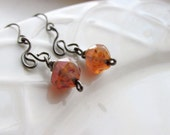 Grapefruit Glass Earrings, Handmade Earrings, Gift for Her, Czech Glass and Gunmetal