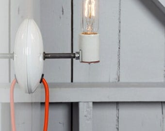 industrial wall sconce bare bulb light plug in