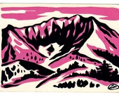 Japanese Woodblock Print, Pink Mountains | Sosaku Hanga