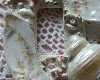 Beachy Seashell Switchplate with Limoge china
