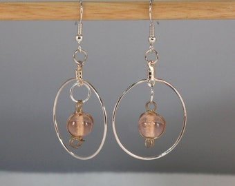Blush Pink Silver Hoop Earrings, Wire-wrapped Glass, Handmade Boho Hippie Chic Beadwork Dangle Drop Hoops Gift for Her OOAK