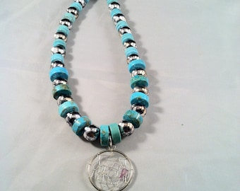 """Dream Catcher Necklace/ Turquoise Clay & Dream Catcher Necklace/ 20"""" Dream Catcher Necklace/ Statement Necklace"""