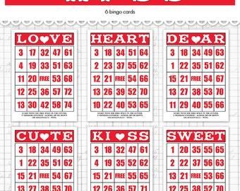 digital valentine bingo cards vintage ephemera 5 by 7 and 35