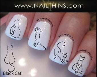 Black Cat Nail Decal Kitty Nail Art  Nail Designs NAILTHINS