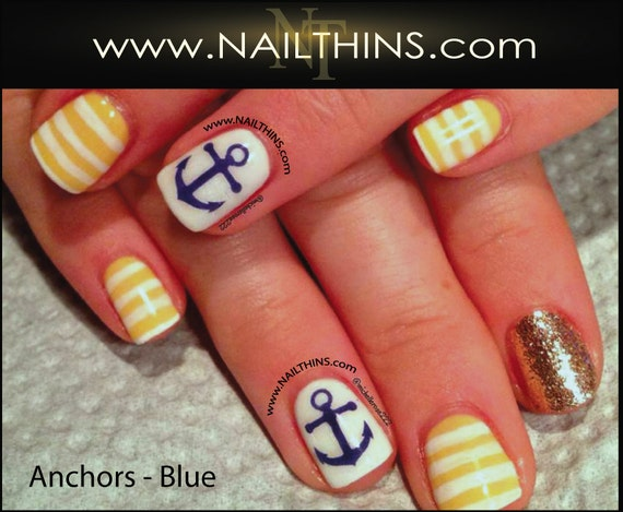anchor nail decal multi size nautical nail design nailthins