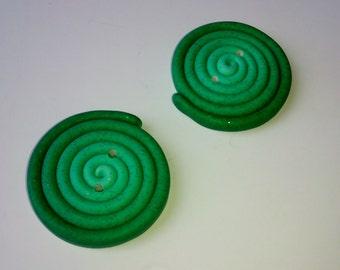 1 Oversized XL Button 3.5 cm. - Green Glitter Ombre - Maxi - Handmade Polymer clay