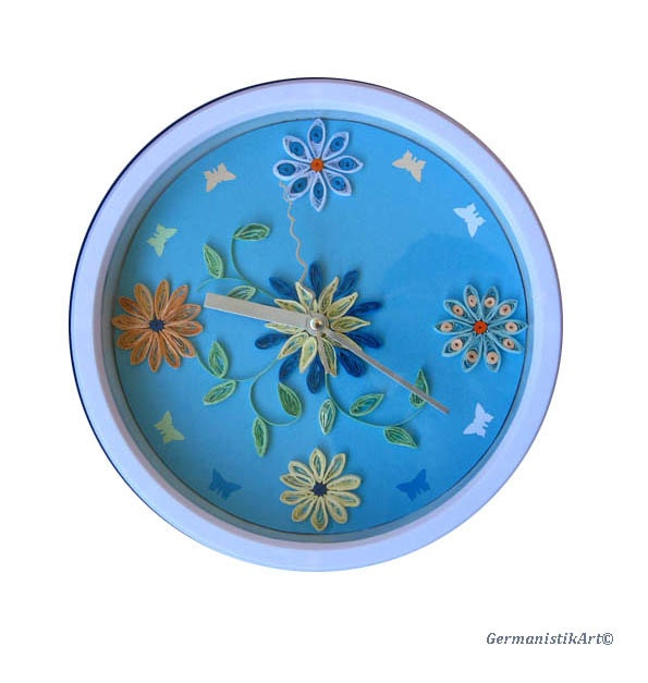 blue kitchen art wall clock paper quilling art decorative