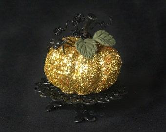 Flamboyant Golden Miniature Pumpkin for Your Dollhouse