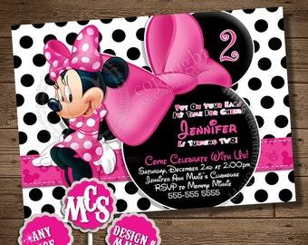 HUGE SELECTION Pink Minnie Mouse Birthday Invitation, My Celebration Shoppe, Printable Invitation, Birthday Printable, Card, Invitation