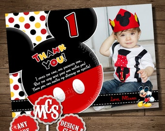 HUGE SELECTION Mickey Mouse, Thank You card, My Celebration Shoppe, Printable, Thank You, Thank You Insert, Thank You Card, Birthday Card