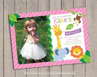Girl Jungle Safari Birthday Invitation / Girl Safari Birthday Invitation / Sweet Safari Birthday invitation / Sweet Safari Invitation