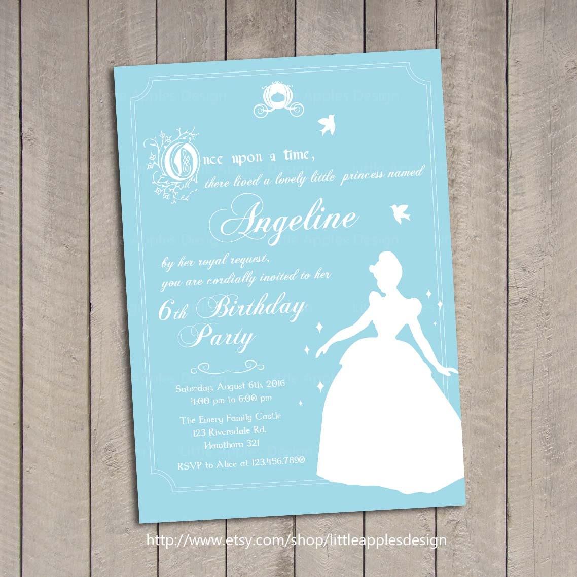 Cinderella Invitation / Cinderella Birthday Invitation