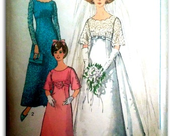 Simplicity 6825  Wedding Dress with Detachable Train, Bridesmaid dress Size  12
