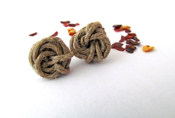 Hypoallergenic Jute Twine Rosette Post Earrings