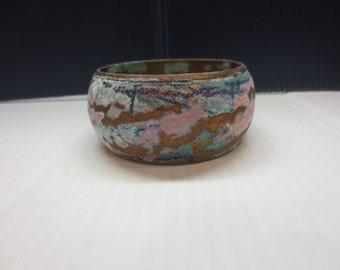 Colorful Wide Bangle Bracelet Looks Hand Made