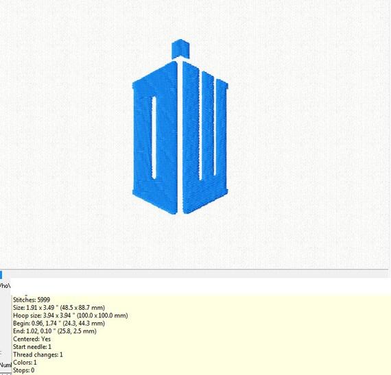 Dr Who Logo Tardis Machine Embroidery Design In 2 Sizes