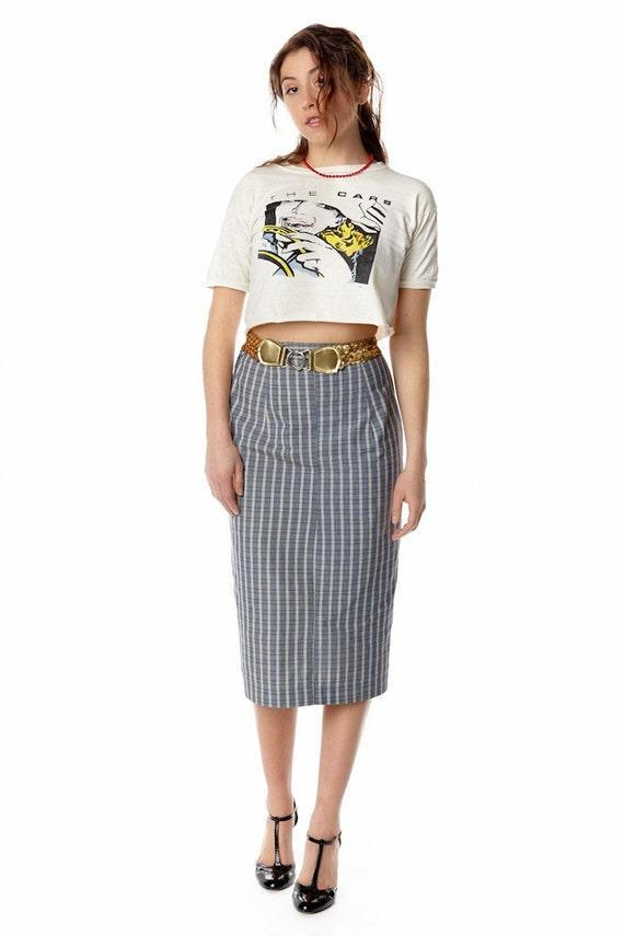 vintage 1950s tartan plaid pencil midi skirt revival vintage