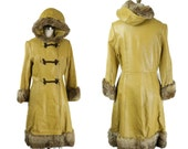 SALE 1970s 60s Leather and Fur Hooded Princess Cut Coat / Mustard Yellow Leather Coat with Fur Collar and Cuffs