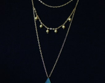 Elize - Tales of Xillia Cosplay Necklace - Gold Plated Chain, 24K Gold Plated Beads, Green Sea Glass Pendant - 6140118