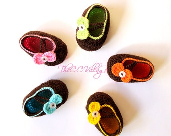 Brown Crochet baby shoes, Newborn baby girl shoes Pink, Green, Yellow and many colors