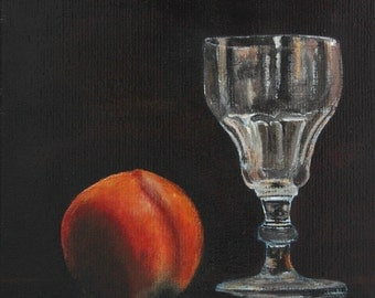"FREE SHIPPING Kitchen Still Life Original Food Painting Grandfather's Wineglass with Nectarine 7,87""x7,87"" Acrylics on canvas"