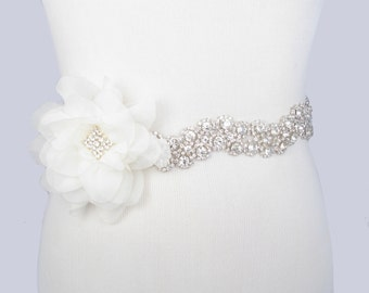 Flower Wedding Dress Sash, Crystal Rhinestone Bridal Belt, Silver with Clear Rhinestones, Jeweled Beaded Sash, 35 Satin Ribbon Color Choices