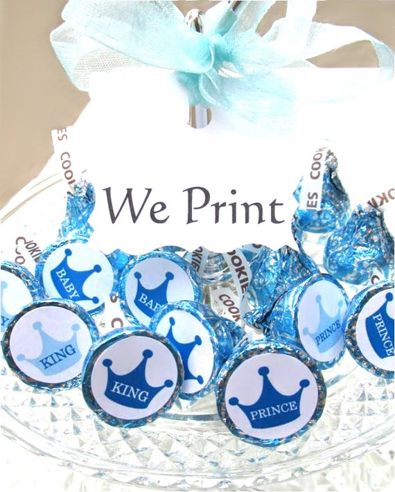 Blue Crown King Prince 1st Birthday Party Favors Candy Sticker