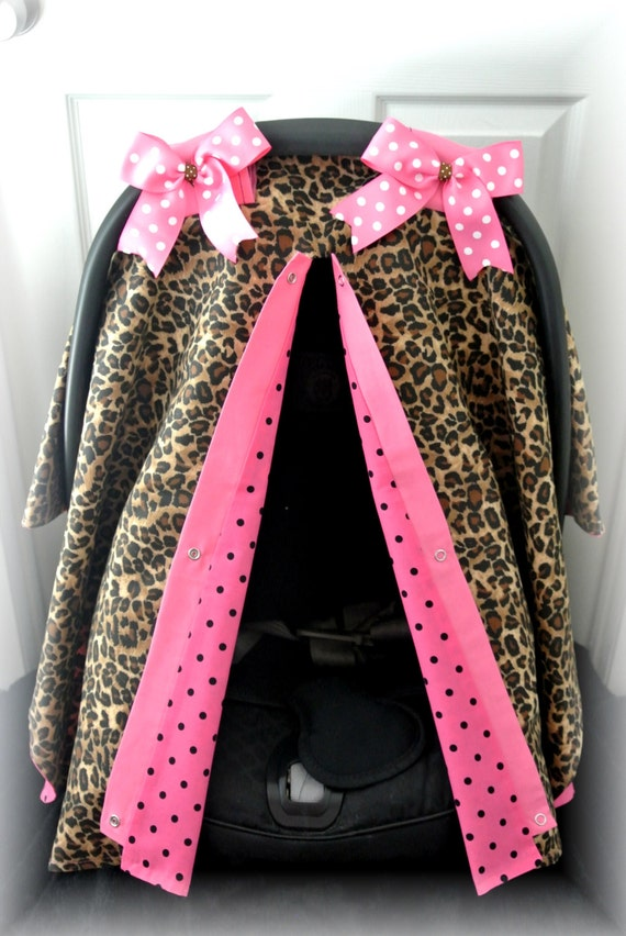 items similar to car seat canopy car seat cover black pink bows cheetah leopard baby car. Black Bedroom Furniture Sets. Home Design Ideas