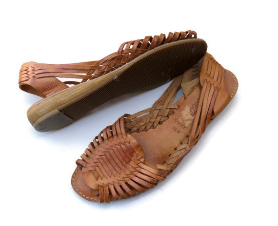Woven Leather Sandals Vintage 80 S Huaraches Weave Braided