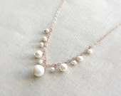 Rose Gold and Pearl Bridal Necklace - 14k Rose Gold Fill Necklace with Wire Wrapped Freshwater Pearls in a Petite Bib Delicate Wedding