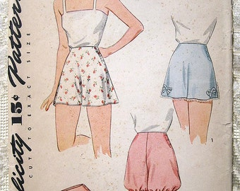 Vintage 40s Tap Panties and Bloomers. Simplicity Sewing Pattern 4468.  Waist 24